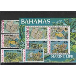 BAHAMAS 1977  VITA MARINA  FAUNA  4 VAL + BF  MNH  MF53642