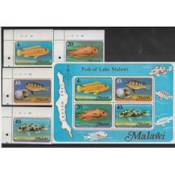 MALAWI 1977 PESCI FAUNA 4 V + BF MNH MF53713