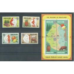 SWAZILAND 1976 DEFINITIVA RE SOBHUZA E BIRDS 15 V MNH YV N 233-47 MF21892