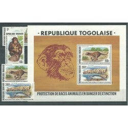 1977 TOGO ANIMALI IN ESTINZIONE ANIMALS  6 V.+ 1 BF MNH YV. 898/99 + A319/22 + BF107 MF27310