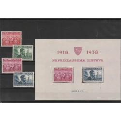 1939 LITUANIA LIETUVA  20 INDIPENDENZA 4 VAL + BF MLH MF540065