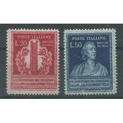 1949 REPUBBLICA ITALIANA 150 ANNIVERSARIO PILA DI VOLTA 2 VAL MNH MF27411