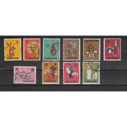 SINGAPORE 1968  DANZE E MASCHERE 10 VAL  USATI MF 53988