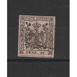 DUCATO DI MODENA 1852 - 10 CENT  ROSA CHIARO   SASSONE N 2  USATO GAZZI  MF54129