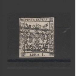 DUCATO DI MODENA 1853 1 LIRA BIANCO SASSONE N 11 USATO E DIENA MF52836