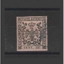 DUCATO DI MODENA 1854  -  10 CENT ROSA  SASSONE N 9  USATO  MF52890