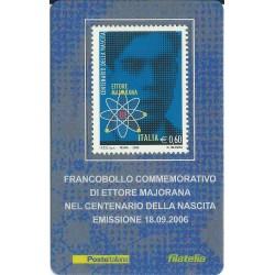 2006 TESSERA FILATELICA 100° NASCITA DI ETTORE MAJORANA MF25749