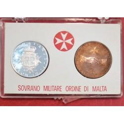 1970 SMOM - DITTICO MONETE 9 TARI IN ARGENTO + 10 GRANI CONF. ORIGINALE MF41556