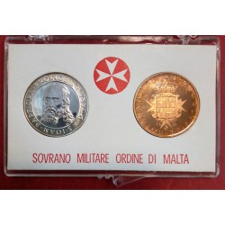 1971 SMOM - DITTICO MONETE 9 TARI IN ARGENTO + 10 GRANI CONF. ORIGINALE MF41558