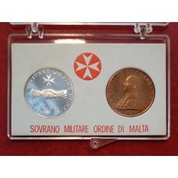 1975 SMOM - DITTICO MONETE 9 TARI IN ARGENTO + 10 GRANI CONF. ORIGINALE MF41560