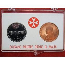 1976 SMOM - DITTICO MONETE 9 TARI IN ARGENTO + 10 GRANI CONF. ORIGINALE MF41561