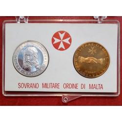 1973 SMOM - DITTICO MONETE 9 TARI IN ARGENTO + 10 GRANI CONF. ORIGINALE MF41564