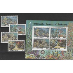 BARBADOS 1980 PESCI FISH 4 V + BF  MNH  MF54180