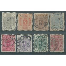1875 FINLANDIA  STEMMA E CIFRA NEI 4 ANGOLI  UNIF  N° 13/20  - 8 V USATI MF51049