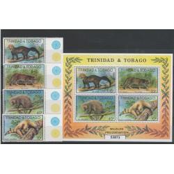 TRINIDAD E TOBAGO 1978  FAUNA PROTEZIONE NATURA 4 VAL + BF MNH  MF53873