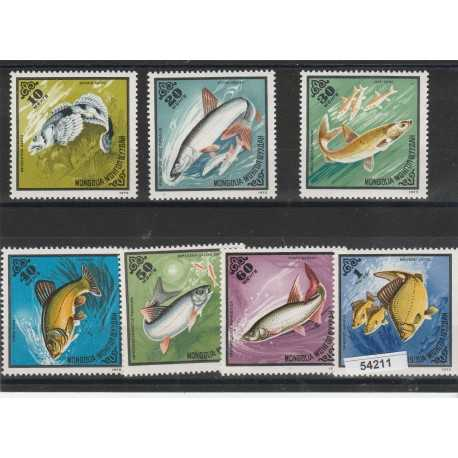 1975 MONGOLIA  FAUNA  PESCI  7  VAL MNH  MF54211