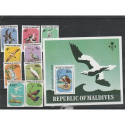 MALDIVES 1977  FAUNA UCCEDLLI 9 VAL + BF MNH MF54207