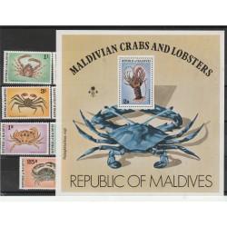 MALDIVES 1978 FAUNA  GRANCHI  7 VAL + BF MNH MF54232