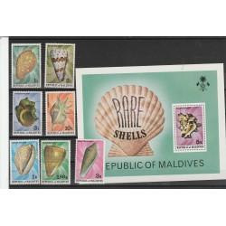 MALDIVES 1978 FAUNA  CONCHIGLIE  7 VAL + BF MNH MF54226