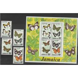 JAMAICA 1977 FAUNA FARFALLE  4 V + BF MNH  MF54230
