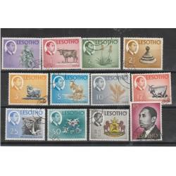 1967  LESOTHO ANIMALI E EFFIGIE DEL RE 12 VALORI USATI MF54263