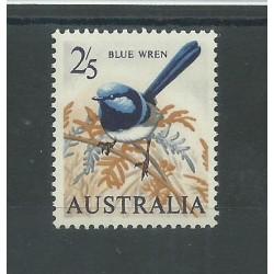 1964 AUSTRALIA UCCELLI BLU WREN CARTA COLOR CREMA MNH MF27433