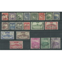 PAKISTAN 1948 SERIE DEFINITIVA SOGGETTI VARI 20 VALORI  USATI MF27440