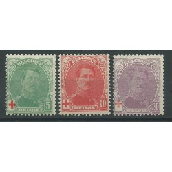 1914 BELGIO SERIE PRO CROCE ROSSA EFFIGIE 3 VAL NUOVI MLH MF27449