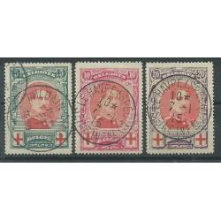 1915 BELGIO SERIE PRO CROCE ROSSA EFFIGIE 3 VAL USATI MF27441