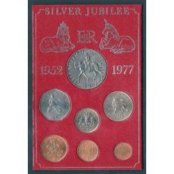 GRAN BRETAGNA  SILVER JUBILEE 1952-1977 COIN SET - N.7 MONETE FDC  MF 41586