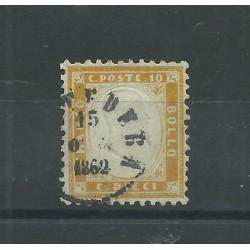 1862 REGNO ITALIA EFFIGIE VITT EMANUELE II 10 C OTTIMA CENTRATURA 1 V USATO DIENA MF18059