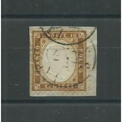 1862 REGNO ITALIA EFFIGIE VITT EMANUELE II 10 C BRUNO n. 1C USATO DIENA MF27499