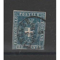 TOSCANA 1860 - 20 CENT AZZURRO  SASS N 20 USATO  MF54398