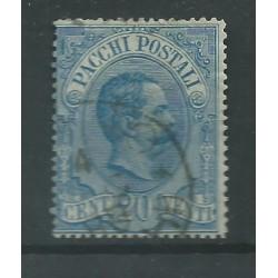 1886 REGNO PACCHI POSTALI 20 CENTESIMI AZZURRO USATO CILIO MF27521