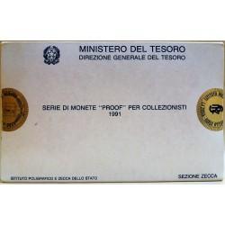 1991 ITALIA REPUBBLICA DIVISIONALE 11 MONETE PROOF SIGILLATA MF41612