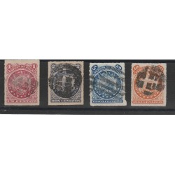 BOLIVIA 1887 STEMMA DENT TRATTINI 4 VAL USATI MF54359