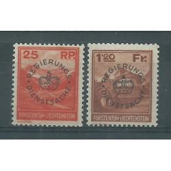 1933 LIECHTENSTEIN SERVIZIO VEDUTE DIVERSE SOPRASTAMPATI MNH CAFFAZ MF27537