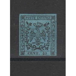 DUCATO DI MODENA 1852 - 40 CENT  CELESTE  SASSONE N 5 USATO CAFFAZ MF54408