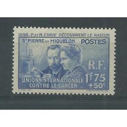 ST PIERRE ET MIQUELON 1938 PIERRE E MARIE CURIE 1 V MLH MF27581