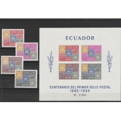 1965 ECUADOR CENTENARIO FRANCOBOLLO  4 VAL + 1 BF MNH MF54103