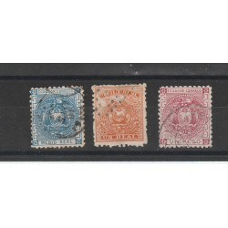 1872 ECUADOR SERIE STEMMA  3 VAL DENT  USATI  MNH  MF54455