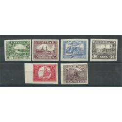 1928 LETTONIA LATVIJA  MONUMENTO LIBERTA NON DENTELLATI 6 VAL MNH MF27650