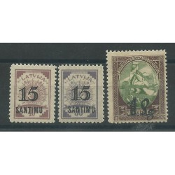 1927 LETTONIA LATVIJA  SOPRASTAMPATI 3  VAL MLH MF16906