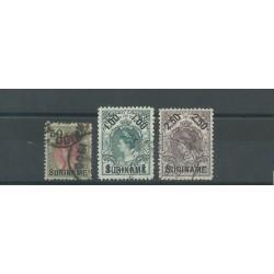 SURINAME 1899  EFFIGIE GUGLIELMINA SOPRASTAMPATI YV 34/36 - 3 VAL USATI MF27779