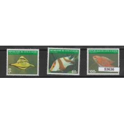 COTE D'IVOIRE COSTA D'AVORIO 1972 FAUNA MARINA  3 VAL MNH MF53636