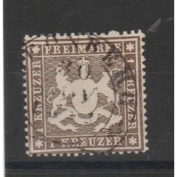 1860 GERMANIA ANTICHI STATI WURTTEMBERG  STEMMA  1 KR  USATO MF54645