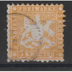 1860 GERMANIA ANTICHI STATI WURTTEMBERG  STEMMA 3 KR  DENT 10 USATO MF54652