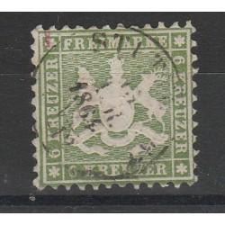 1860 GERMANIA ANTICHI STATI WURTTEMBERG  STEMMA 6 KR  DENT 10 USATO MF54654