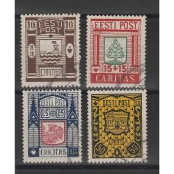 1937 ESTONIA EESTI STEMMI DI CITTA  4 VALORI USATI  MF54676