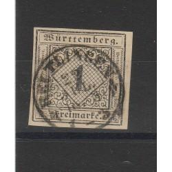 1851 GERMANIA ANTICHI STATI WURTTEMBERG  CIFRA AL CENTRO  N 1 USATO MF54717